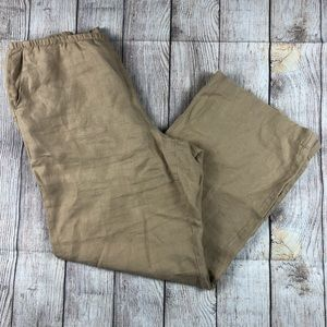 J. Jill Tan 100% Linen Wide Leg Pants